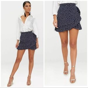 Navy Spot Print Frill Hem Wrap Mini Skirt NWT 2